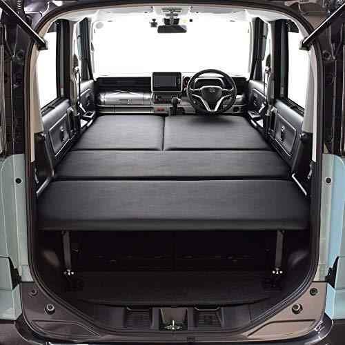 スペーシアMK53S専用 ベッドキット・ブラックレザータイプ/クッション材20mm・スペーシア ギア・スペーシア カスタム・スペーシア 車中泊