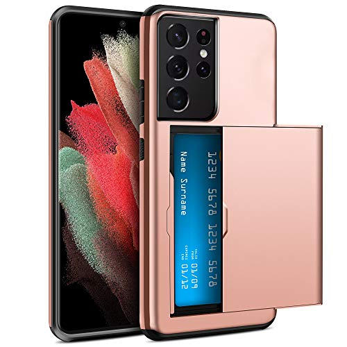 ELOVEN for Samsung Galaxy S21 Ultra 5G Case Wallet with Hidden Card Slot Credit Card Holder Shock Absorption Rugged Bumper Hard PC Cover Compatible with Samsung Galaxy S21 Ultra 5G 6.8 inch Rose Gold