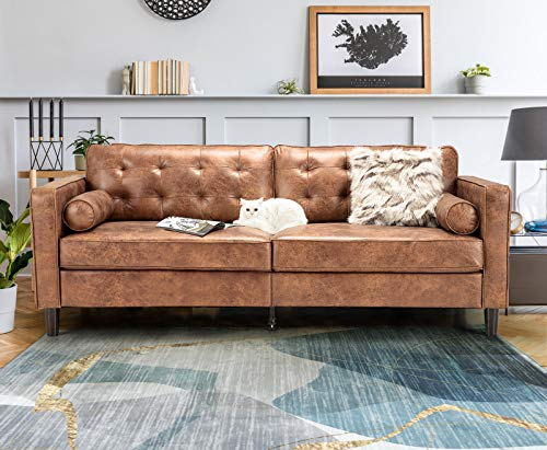 """Esright 84.2""""Mid-Century Sofa Couch,Tufted Synthetic Suede Fabric Modern Couch with 2 Bolster Pillows, Sofas Couches for Living Room,Apartment,Dorm & Office,Saddle Brown"""