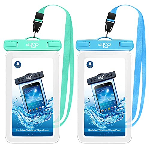 HeySplash Funda Impermeable para Celular de hasta 7', 2 PZS Bolsa Universal de TPU a Prueba de Agua para con Correa Compatible con iPhone 12/12 mini/12 Pro Galaxy S20 Huawei P30 Pro - Azul y Verde