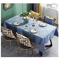 ヨーロッパの牧歌的なスタイルのテーブルクロス高品質の綿とリネン刺繍パターンユニバーサルカバータオル (Color : Blue, Size : 85*85CM)