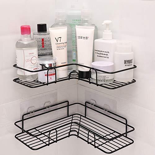 LAZY CAT Estante de baño con marco de esquina para ducha, accesorios de cocina de hierro forjado, estante de almacenamiento, estantes de baño (color: negro 1 unidad)