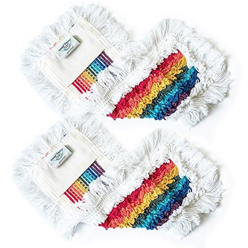 """boertlay \""""Rainbow Regenbogen Bodenwischer (40 cm) Baumwolle Wischmopp - Parkett Profi Hochleistungs Baumwollmopp - Wischbezug aus Reiner Baumwolle - Farbe für den Privathaushalt"""