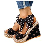Cookinty Sandals for Women Casual Summer T-Strap Block Heel Sandals Heeled Ankle Wedge Ankle Strap Open Toe Sandals