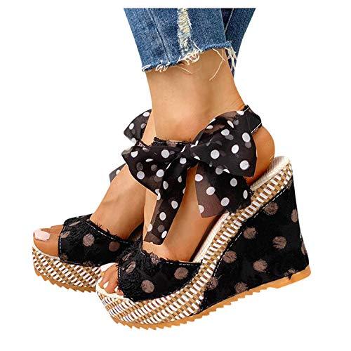 Writtian Zapatos Sandalias con cuña tacón Plataforma Alta con Tira Ancha y Cuerda al Tobillo de Ante Encaje up Antelina Impresión de Lunares Sandalias