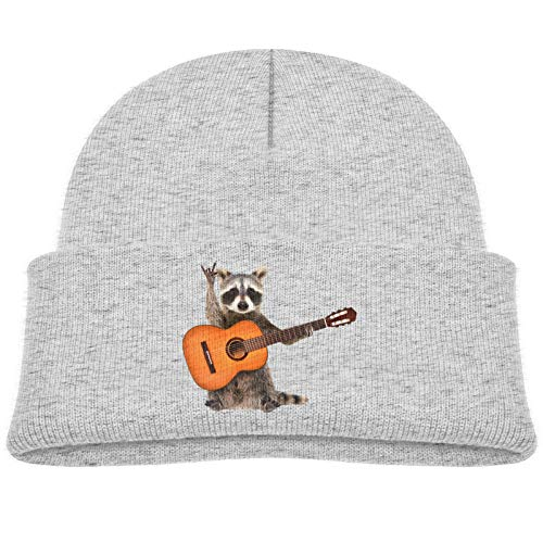 Funny Raccoon with Acoustic Guitar Baby Skull Cap Beanies Cap Cozy Cotton Warm Hat 0-3T Gray