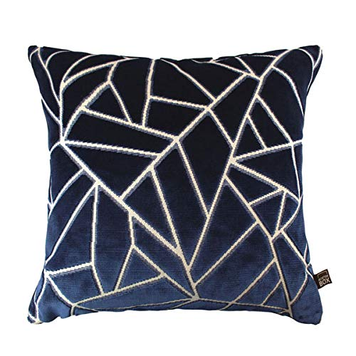 Scatter Box Veda Velour Feather Filled Cushion, Navy, 43 x 43 Cm