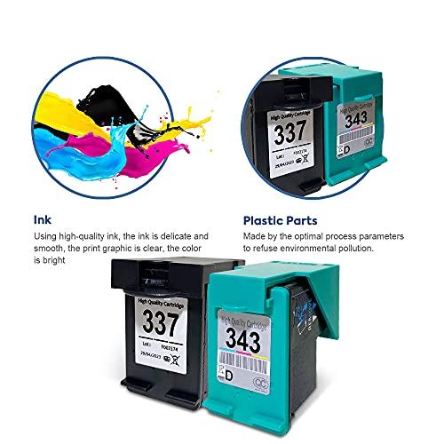 SMARTOMI Remanufacturado 337 343 Compatibles con HP 337 343 XL para Photosmart 2570 2573 2575 C4140 C4150 C4180 8049 8050 8750 Officejet 6300 6310 6313 6315 Deskjet 5940 5943 6940 6980 D4155 D4160