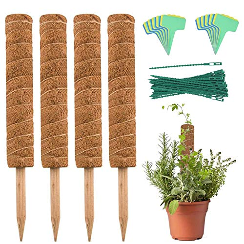 YEAJON Coir Moss Totem Pole with 40 Pcs Plant Labels, Coir Moss Stick for Plant Support Extension, Climbing Indoor Plants, Creepers(4 Packs 15.7 Inch)