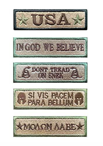 Antrix Aufnäher mit US-Flagge, Schwarz, 8 Stück 5er-Pack Armeegrün