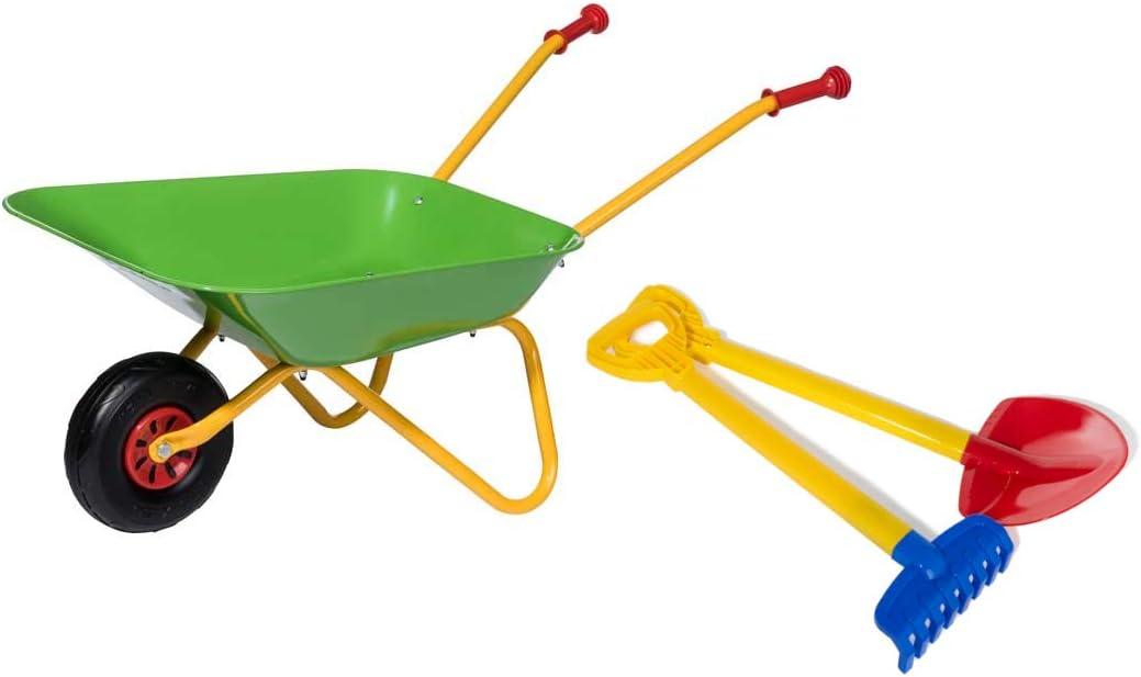 Rolly Toys Pala y rastrillo (Carretilla de Metal soporta hasta 25 kg, a Partir de 2 ½ años), Color Verde, 1 RAD (272846)