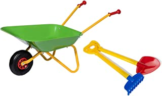 Rolly Toys 272846 Set with Shovel and Rake (Metal Wheelbarrow up to 25 kg from 2 to 2 Years Old), Green, 1 Rad