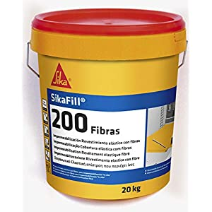 Sikafill-200 fibras, Pintura elástica con fibras para impermeabilización, Rojo teja, 20kg