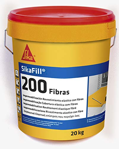 Sikafill-200 fibras, Pintura elástica con fibras para impermeabilización, Blanco, 20kg