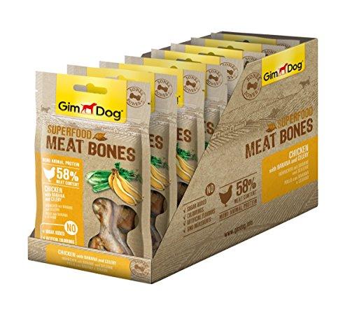 GimDog Superfood Meat Bones Hühnchen - Mono-Protein Hundeleckerli mit hohem Fleischanteil - 8 Beutel (8 x 70 g)
