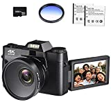 4K Digital Vlogging Camera for YouTube 4k Camcorder HD 1080P 48MP Video Camera with WiFi Connection 3.0' IPS Flip Screen, Wide Angle Lens,16X Digital Zoom (32GB SD Card, 2 Batteries Included)