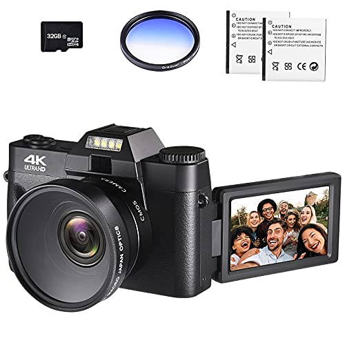 """4K Digital Vlogging Camera for YouTube 4k Camcorder HD 1080P 48MP Video Camera with WiFi Connection 3.0"""" IPS Flip Screen, Wide Angle Lens,16X Digital Zoom (32GB SD Card, 2 Batteries Included)"""