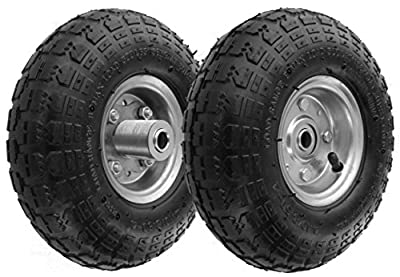 """RamPro 10"""" All Purpose Utility Air Tires/Wheels with a 5/8"""" Diameter Hole with Double Sealed Bearings"""