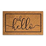 """Coco Coir Door Mat with Heavy Duty Backing, Hello Doormat, 17""""x30"""" Size, Easy to Clean Entry Mat, Beautiful Color and Sizing for Outdoor and Indoor uses, Home Decor"""