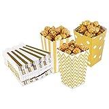 Dusenly 24pcs Cajas de Palomitas de maíz titulares contenedores de cartón contenedor de Dulces Bolsas de Papel de merienda para el Cine Dessert Tables Favores de la Boda (Oro)