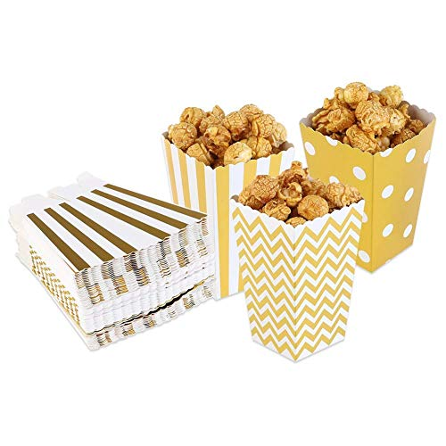 Dusenly Sacchetti di Carta dello spuntino del Contenitore della Caramella del Contenitore dei contenitori di contenitori di Popcorn 24pcs per Cinema Tavoli da Dessert Bomboniere (Oro)