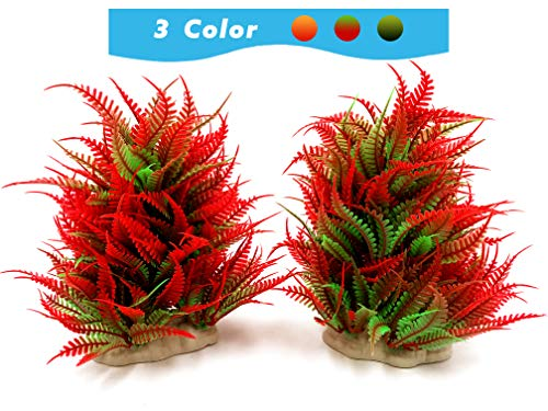 BEGONDIS 2 Pcs Fish Tank Artificial Red Water Plants, Aquarium Decorations Made of Soft Plastic, Safe for All Fish & Pets