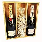 Champagne Moet & Chandon - Impérial Brut/Rosé & 2 * 150 gramos Nougadets negros - Jonquier Deux Frères - En caja de madera