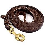CoreLife Leather Dog Leash, Braided 8 feet 6...