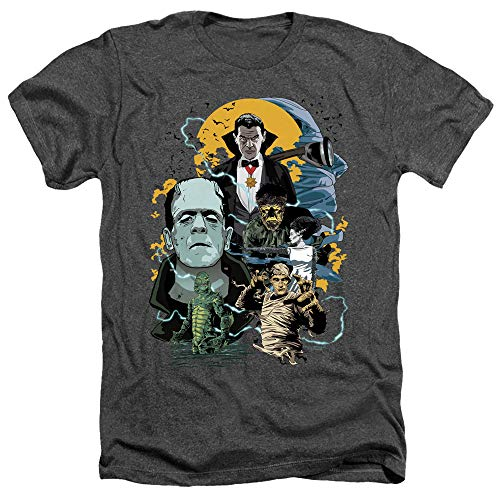 Universal Monsters Monster Mash Unisex Adult Heather T Shirt for Men and Women, X-Large Charcoal