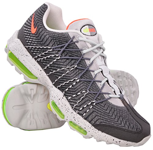 Nike Air MAX 95 Ultra JCRD, Zapatillas de Running Hombre, Gris/Blanco/Naranja (Night Silver/Brght Crimson-Vlt), 40