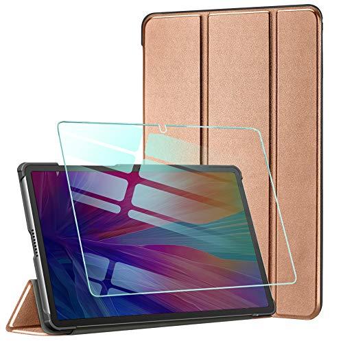 AROYI Hülle für Huawei MatePad T10S/ T10 2020 und Panzerglas, Ultra Schlank Schutzhülle Hochwertiges PU mit Standfunktion Glas Panzerfolie Huawei MatePad T10S/ T10 2020, Rosegold