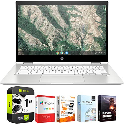 """HP Chromebook X360 12"""" HD+ Intel Celeron N4000 4GB Touch Laptop 12b-ca0010nr Bundle w/ Elite Suite 18 Software (Office Suite Pro, Photo Editor, PDF Editor, PCmover Pro) + 1 Year Protection Plan"""