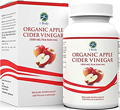 Organic Apple Cider Vinegar Pills (1500mg) - Vegan - with Cayenne Pepper - Natural Dietary Supplement - Manage Digestive Health, Blood Sugar, & Cholesterol - 120 Vegetarian Capsules from 1 Body