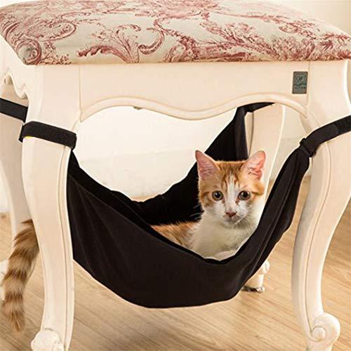 ULILICOO Cat Hammock Pet Cage Hängematte Soft Plush Pet Chair Hängematte, geeignet für Meerschweinchen, Hamster, Rennmäuse, Katzen usw. (Schwarz L)