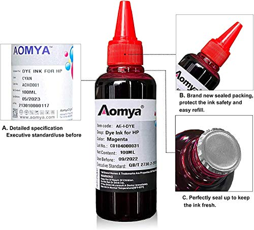 Aomya - Kit de recambio de tinta para HP 60 61 63 64 65 902 932 952 564 Cartucho de tinta recargable para HP Envy 4500 4520 5643 OfficeJet 6500a 6500 6000 (3 negro, 1 cian, 1 Magenta, 1 amarillo