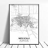 zhuifengshaonian Monterrey Reynosa Mexicali Lopez Mateos Puebla City Zapopan Mexico Map Poster (ZW-147) Sin Marco Poster 40x60cm