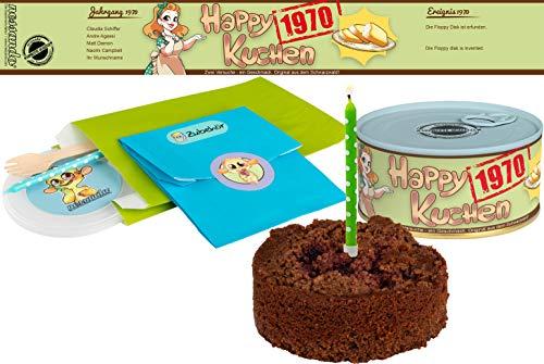 Happy Kuchen   Kuchen in der Dose   Personalisiert mit Wunsch- Geburtsjahr, Namen und Geschmack   Geburtstagsgeschenk   Geschenk   Geschenkidee (Schoko-Kirsch, Geburtsjahr 1970)