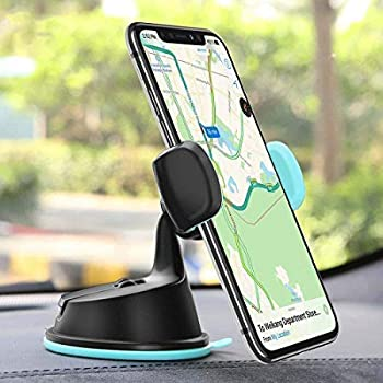 """LKMO® 3-in-1 Car Mobile Phone Holder for Windshield Dashboard and AC-Vent Super Flexible Neck 360 Degree Rotation for All Smartphones Size Upto 6"""" Inch - (Black)"""