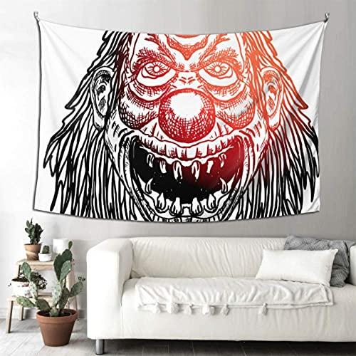 N\A Tapiz de Cortina Scary Devil Clown Head Decoración de Pared Exterior Tapices de Pared Arte para Colgar en la Pared Hogar para Sala de Estar Dormitorio