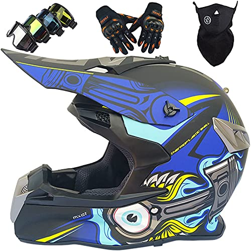 Cascos Integrales, Cascos de Motocross para Niños y Adultos con Gafas, Guantes, Cascos de Cross Offroad AprobadosDOT para ATV Downhill MTB BMX Quad Motorbike Dirt Bike Casco