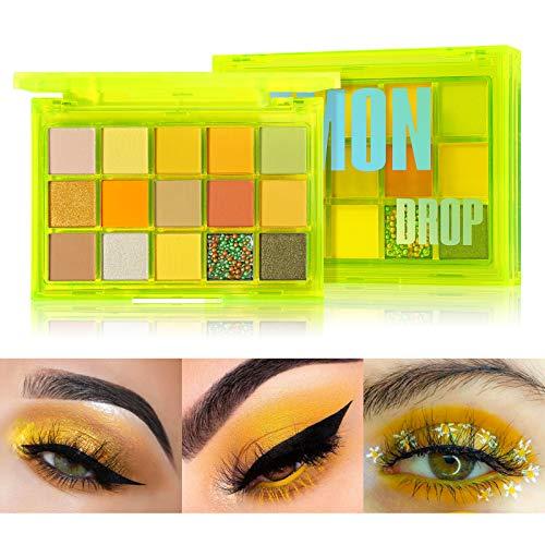 Palette de fards à paupières UCANBE 15 couleurs, Palette de maquillage néon mat pailleté scintillant (Lemon Drop)