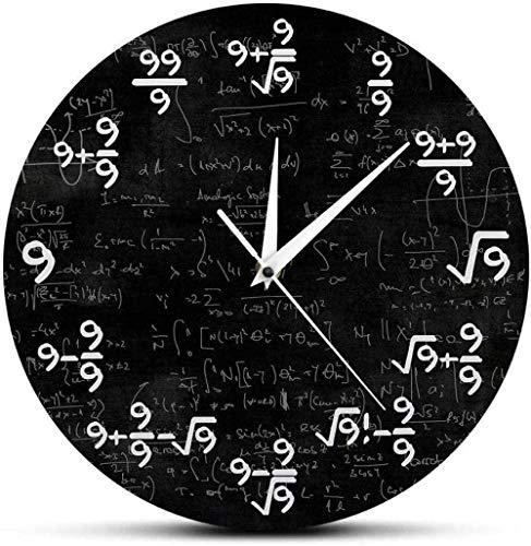youmengying Co.,ltd Reloj De Pared Ecuaciones Matemáticas Bonito Reloj De Pared Matemático Reloj De Fórmula 9S Mesa Colgante De Pared Moderna Decoración Mural para El Aula De Matemáticas 30X30Cm