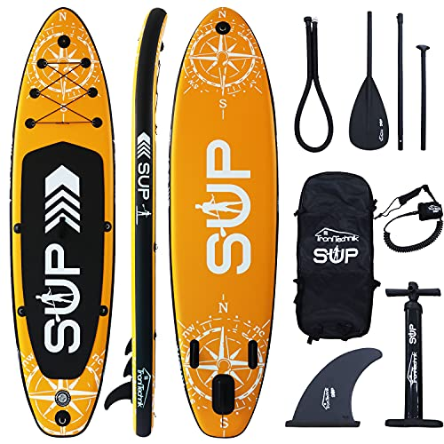 Tronitechnik Sup, Aufblasbares Stand Up Paddle Board, Yoga Board, Surfboard, Kajak, Action Cam Ready, Pumpe, Rucksack, 3 Finnen, Ventil, Kappe, sup Leine, Anti-Rutsch-Belag Grün 366x80x15