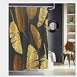 Meiya-Design Goldene Federn Duschvorhänge mit 12 Haken, Badvorhang, 72 x 72 cm