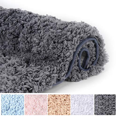 Bathroom Rugs Microfiber Plush Bath Mat Machine Washable, Slip Resistance Rubber and Absorbency Bath Rugs for Bathroom Floor, Door and Sink, Rectangular Floor Mat,Grey,32'x 20'