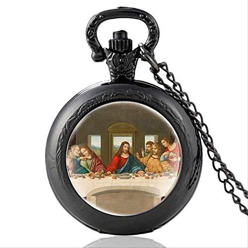 huangshuhua Caballeros Templarios en Hoc Signo Vinces Cruz Corona Cabujón de Cristal Reloj de Bolsillo de Cuarzo Retro Hombres Mujeres Colgante Collar Cadena Reloj