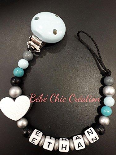 Attache sucette personnalisable Noir bleu et gris coeur Argent