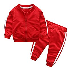 Chinatera Baby Boys Clothes Set Two Pieces Solid Jacket Pants Tracksuit Cotton