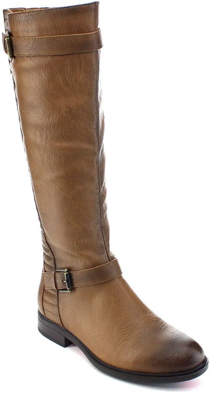 De Blossom Collection Pita-33 Women Buckle Strap Elastic Knee High Riding Boots,Nude,6