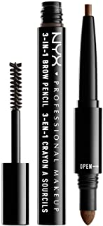 NYX PROFESSIONAL MAKEUP 3-In-1 Brow Pencil, Eyebrow Pencil - Soft Brown